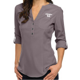 Ladies Glam Pewter 3/4 Sleeve Blouse-Secondary Logo