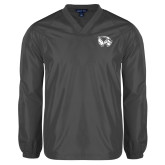 V Neck Charcoal Raglan Windshirt-Primary Logo