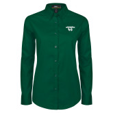 Ladies Dark Green Twill Button Down Long Sleeve-Secondary Logo