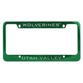 Metal Green License Plate Frame-UTAH VALLEY