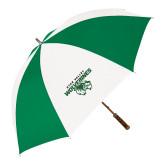 64 Inch Kelly Green/White Umbrella-Secondary Logo
