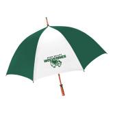 62 Inch Forest Green/White Umbrella-Secondary Logo