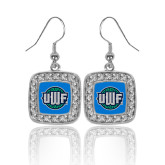 Crystal Studded Square Pendant Silver Dangle Earrings-UWF Shield