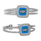 Crystal Studded Cable Cuff Bracelet With Square Pendant-UWF Shield