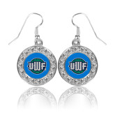 Crystal Studded Round Pendant Silver Dangle Earrings-UWF Shield