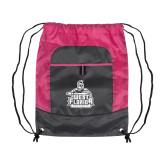 Nylon Pink Raspberry/Deep Smoke Pocket Drawstring Backpack-West Florida Argonauts