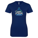 Next Level Ladies SoftStyle Junior Fitted Navy Tee-West Florida Argonauts