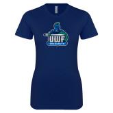 Next Level Ladies SoftStyle Junior Fitted Navy Tee-UWF Argonauts