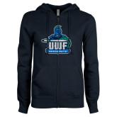ENZA Ladies Navy Fleece Full Zip Hoodie-UWF Argonauts