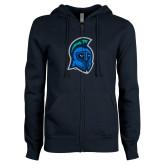 ENZA Ladies Navy Fleece Full Zip Hoodie-Argonaut Head