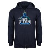Navy Fleece Full Zip Hoodie-West Florida Argonauts