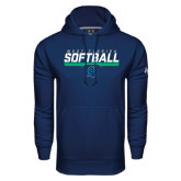 Under Armour Navy Performance Sweats Team Hoodie-Softball Design