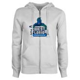 ENZA Ladies White Fleece Full Zip Hoodie-West Florida Argonauts