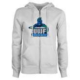 ENZA Ladies White Fleece Full Zip Hoodie-UWF Argonauts