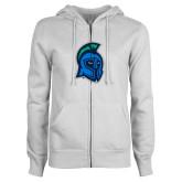 ENZA Ladies White Fleece Full Zip Hoodie-Argonaut Head