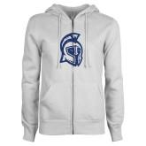 ENZA Ladies White Fleece Full Zip Hoodie-Argonaut Head Dark Blue Glitter