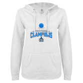ENZA Ladies White V Notch Raw Edge Fleece Hoodie-2018 South Conference Mens Basketball Champions