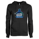 ENZA Ladies Black Fleece Full Zip Hoodie-UWF Argonauts
