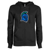 ENZA Ladies Black Fleece Full Zip Hoodie-Argonaut Head