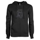 ENZA Ladies Black Fleece Full Zip Hoodie-Argonaut Head Graphite Soft Glitter