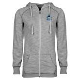 ENZA Ladies Grey/Black Marled Full Zip Hoodie-West Florida Argonauts