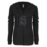 ENZA Ladies Black Light Weight Fleece Full Zip Hoodie-Argonaut Head Graphite Soft Glitter