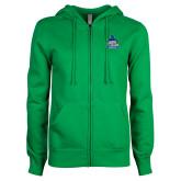 ENZA Ladies Kelly Green Fleece Full Zip Hoodie-West Florida Argonauts