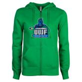 ENZA Ladies Kelly Green Fleece Full Zip Hoodie-UWF Argonauts