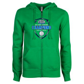 ENZA Ladies Kelly Green Fleece Full Zip Hoodie-2017 Volleyball Champions