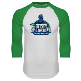 White/Kelly Green Raglan Baseball T Shirt-West Florida Argonauts