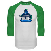 White/Kelly Green Raglan Baseball T Shirt-UWF Argonauts