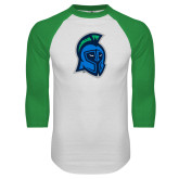 White/Kelly Green Raglan Baseball T Shirt-Argonaut Head