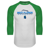 White/Kelly Green Raglan Baseball T Shirt-Baseball Design