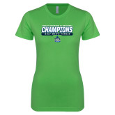 Next Level Ladies SoftStyle Junior Fitted Kelly Green Tee-NCAA Division II National Champions 2017 Mens Tennis