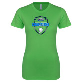 Next Level Ladies SoftStyle Junior Fitted Kelly Green Tee-2017 Volleyball Champions