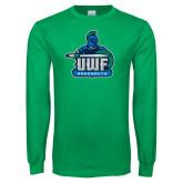 Kelly Green Long Sleeve T Shirt-UWF Argonauts Distressed