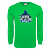 Kelly Green Long Sleeve T Shirt-West Florida Argonauts, Custom Tee w/ Name and #