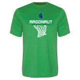 Performance Kelly Green Tee-Basketball Design