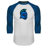 White/Royal Raglan Baseball T Shirt-Argonaut Head