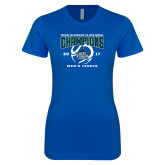 Next Level Ladies SoftStyle Junior Fitted Royal Tee-NCAA Division II National Champions 2017 Mens Tennis