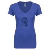 Next Level Ladies Vintage Royal Tri Blend V-Neck Tee-Argonaut Head Dark Blue Glitter