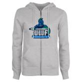 ENZA Ladies Grey Fleece Full Zip Hoodie-UWF Argonauts