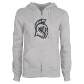 ENZA Ladies Grey Fleece Full Zip Hoodie-Argonaut Head Graphite Soft Glitter