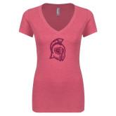 Next Level Ladies Vintage Pink Tri Blend V-Neck Tee-Argonaut Head Hot Pink Glitter