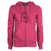 ENZA Ladies Fuchsia Fleece Full Zip Hoodie-Argonaut Head Hot Pink Glitter