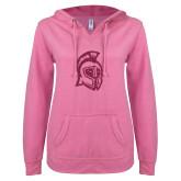 ENZA Ladies Hot Pink V Notch Raw Edge Fleece Hoodie-Argonaut Head Hot Pink Glitter