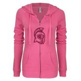 ENZA Ladies Hot Pink Light Weight Fleece Full Zip Hoodie-Argonaut Head Hot Pink Glitter