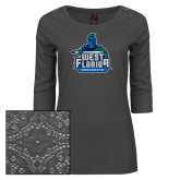 Ladies Charcoal Heather Tri Blend Lace 3/4 Sleeve Tee-West Florida Argonauts