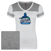 Ladies White/Heathered Nickel Juniors Varsity V Neck Tee-West Florida Argonauts