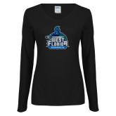Ladies Black Long Sleeve V Neck T Shirt-West Florida Argonauts